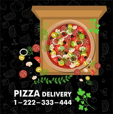 pizza promotion advertisement with colored style on dark background