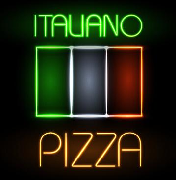 pizza restaurants neon sign vector