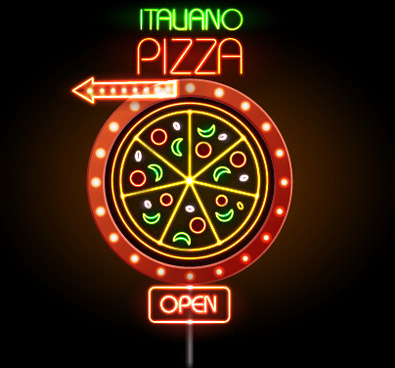 pizza restaurants neon sign vector