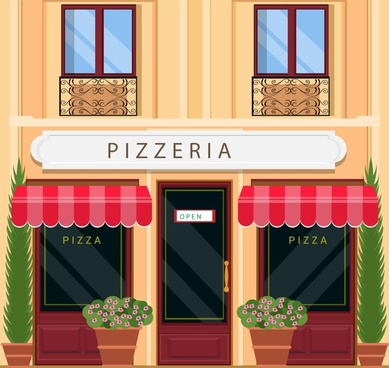 pizza store facade design with italian architecture