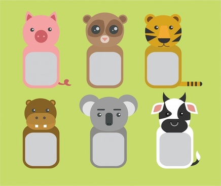 placard design collection cute animals frame style