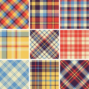 plaid fabric patterns seamless vector