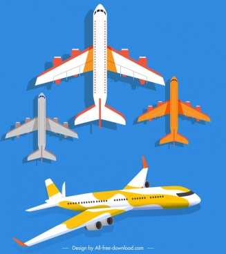 plane icons modern models sketch colored decor