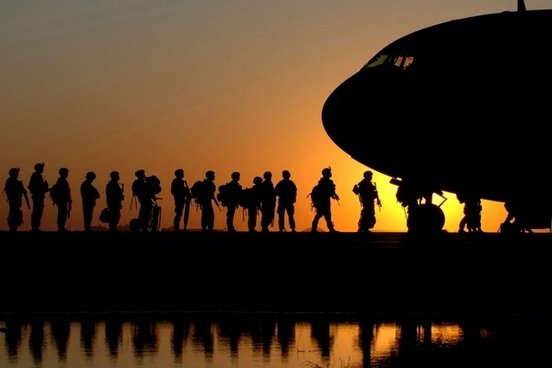 plane soldiers sunrise