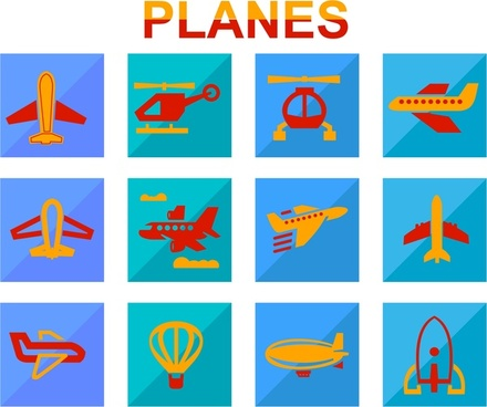 planes icons design with various flat colored styles