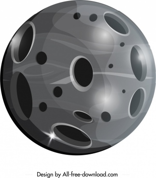 planet icon shiny grey round design