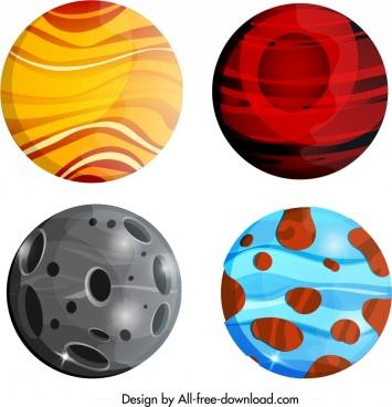 planet icons sets colorful modern circles decor