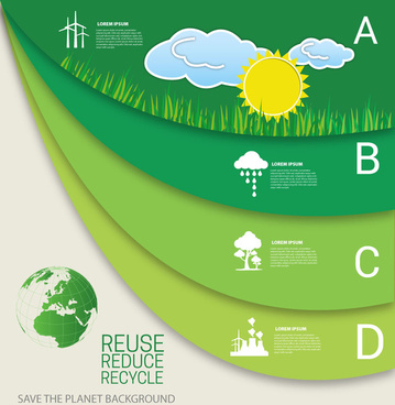 planet saving banner design with infographic style
