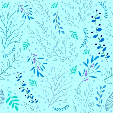 plant background repeating blue icons decoration