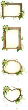 plant decorative wood frame vector
