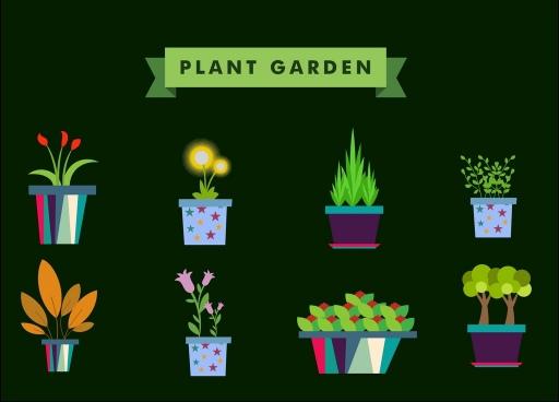 plant garden design elements various flowers vase icons