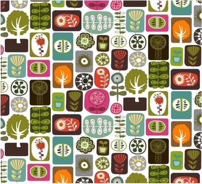 plants pattern colorful flat flowers trees icons isolation