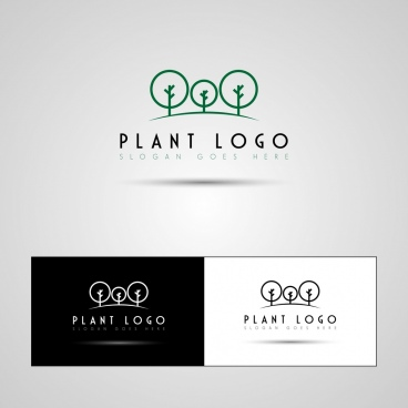 plant logo sets tree icons decoration
