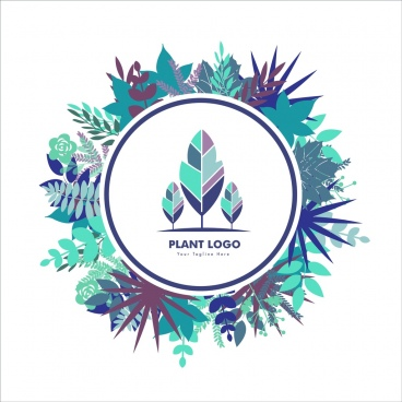 plant logo template colored leaves ornament round style