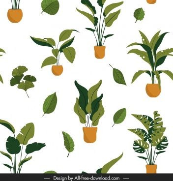 plant pattern leaf pot icons colored design