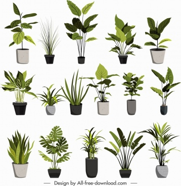 plant pots icons classical green grey sketch