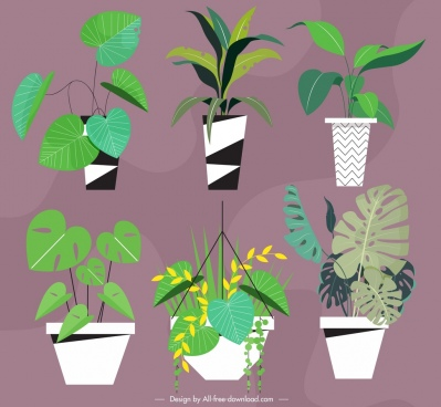 plant pots icons green leaves decor classical design