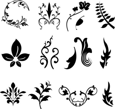 plants branches and leaves vector silhouettes