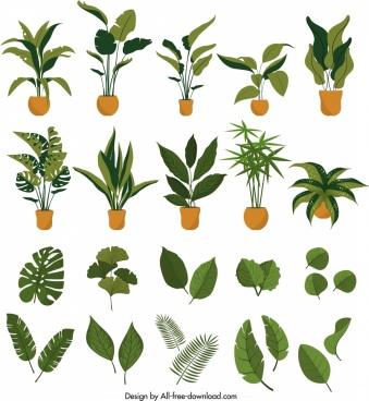 plants icons collection leaves pots symbols