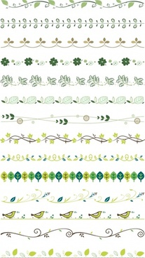 border design elements nature themes leaf bird icons