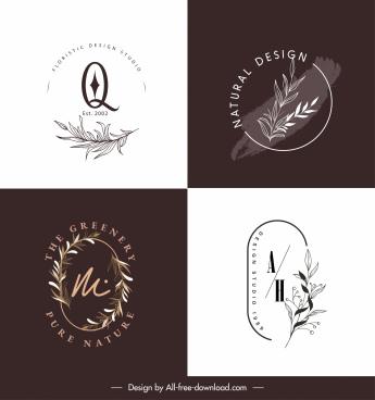 plants logo templates elegant handdrawn leaves sketch