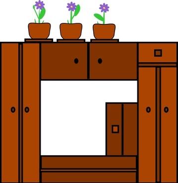 Plants On Wooden Frame clip art