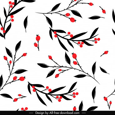 plants pattern leaves fruits sketch flat classic