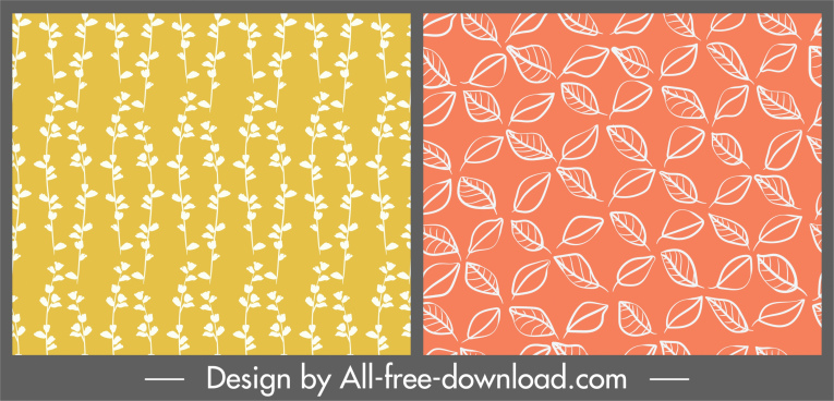 plants pattern templates colored flat repeating decor