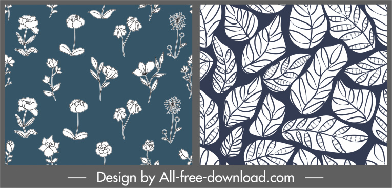 plants pattern templates flowers leaf sketch retro design