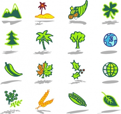 nature icons colored flat handdrawn sketch