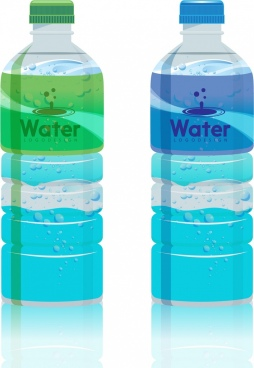 plastic bottle icons shiny realistic design