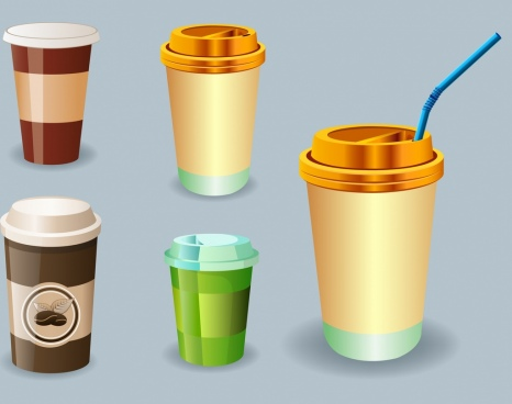 plastic cup icons 3d shiny colored design