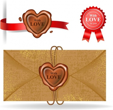 love envelope decor elements heart circle stickers shapes