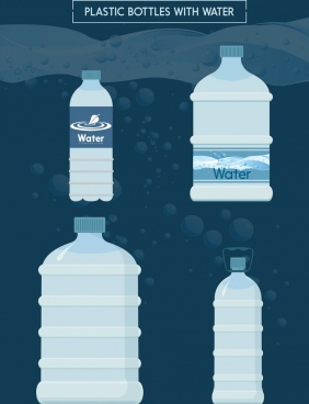 plastic water bottle icons various shapes isolation