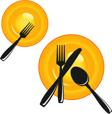 plate and cutlery creative vector set