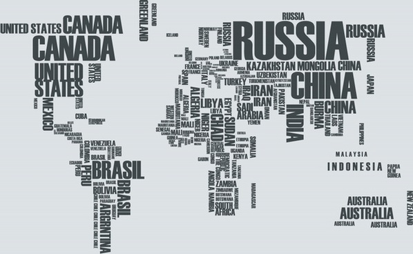 global map background countries name texts layout
