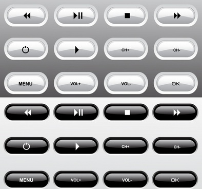 digital button templates shiny black white rounded design