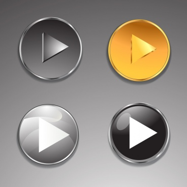 play button icons collection shiny colored round decor