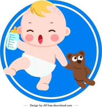 playful baby icon cute cartoon character sketch