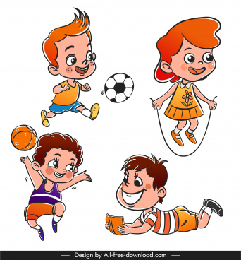playful children icons cute cartoon characters sketch