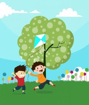 playful children theme boys and kites decoration