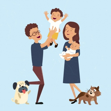 playful family drawing colored cartoon decor