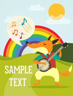 playful fox background stylized design rainbow decoration