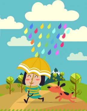 playful girl background colorful rain drops decoration