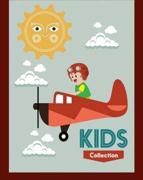 playful kid background pilot icon cartoon design