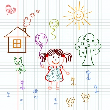 playful little girl drawing colored handdrawn draft