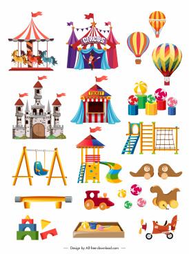 playground design elements recreational symbols sketch