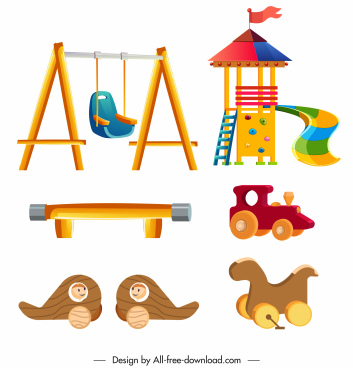 playground icons swing slide teeter toys sketch