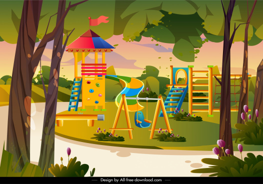 playground painting game elements sketch colorful cartoon design