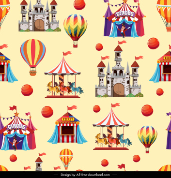 playground symbols pattern recreational icons sketch colorful repeating